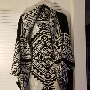 Reversible cocoon poncho sweater